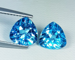 Parcel Pair of 4.17 ct Top Quality Gem Triangle Cut Swiss Blue Topaz