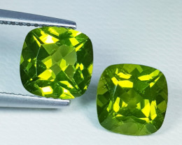 Parcel pair of 5.10 ct Top Quality Cushion Cut Top Luster Natural Peridot