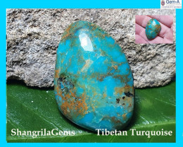 30mm Tibetan turquoise cabochon free form 30 by 21.5 by 6mm