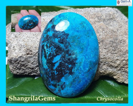 44mm chrysocolla cabochon Shattuckite Azurite oval 44 by 31 by 6mm 75ct
