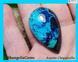 35mm chrysocolla cabochon Shattuckite Azurite with cuprite drop pear 35 by