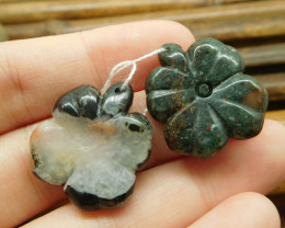 Poppy jasper and african bloodstone gemstone leaf bead (G1699)
