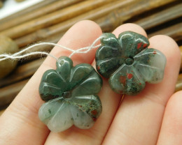 African bloodstone gemstone bead leaf carving pair (G1701)