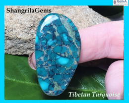 30mm Tibetan turquoise cabochon free form 30 by 23 by 5mm
