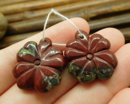 Dragon bloodstone polished carving gemstone pair leaf bead (G1703)