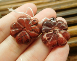 Red river jasper handcarved gemstone leaf pair gemstone (G1704)
