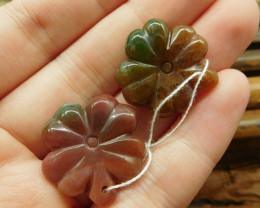 Indian agate gemstone pair handmade leaf (G1705)