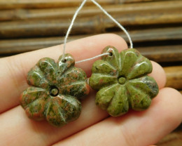 Green gemstone bead unakite jasper gemstone pair leaves (G1706)