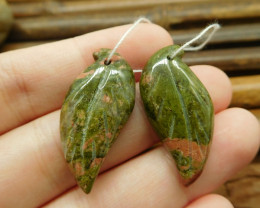 Green gemstone leaves unakite jasper pair handmade beads (G1709)