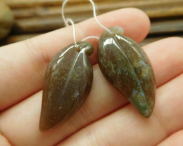 Fancy agate gemstone pair leaf beads (G1710)