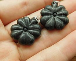Picasso jasper handcarved black gemstone leaf (G1715)