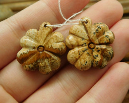 Picture jasper handcarved matching pair gemstone leaf (G1716)
