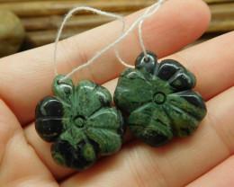 Green gemstone ocean kambaba jasper handcarved pair stone bead (G1717)