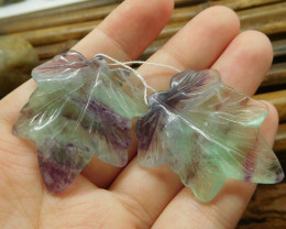 Clear fluorite gemstone handcarved pair maple leaf (G1719)