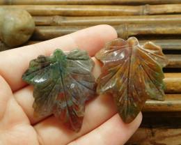 Fancy agate gemstone maple leaf (G1720)
