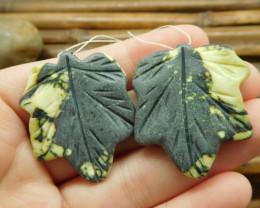 Natural green maple leaf gemstone handmade bead (G1722)