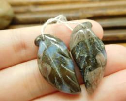 Crinoid fossil pair gemstone leaf beads (G1725)