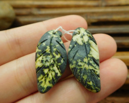 Natural green serpentine handmade floral leaf beads (G1726)