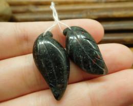 African bloodstone pair gemstone carved leaf beads (G1734)