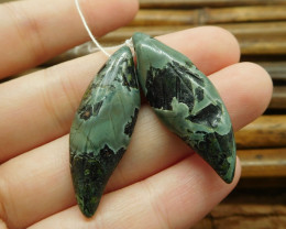 Camouflage jasper handmade gemstone carved green beads (G1736)