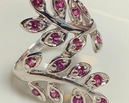 Rhodolite Garnet Vine Sterling Silver .925 14 Kt Gold Ring Size 9