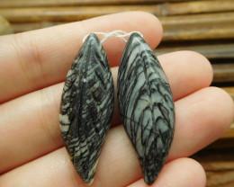 Picasso jasper handmade gemstone bead leaf (G1737)