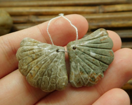 Indonesia coral fossil pair gemstone beads (G1741)