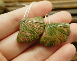 Unakite jasper gemstone handmade leaf beads (G1743)
