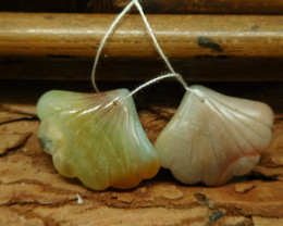 Gemstone amazonite natural carving gemstone leaf (G1744)