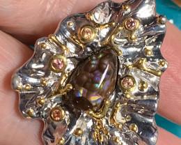 Rare Ammolite Sapphire 925 Silver Gold Ring Size 6.5