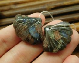 Crinoid fossil natural carving gemstone leaf (G1748)