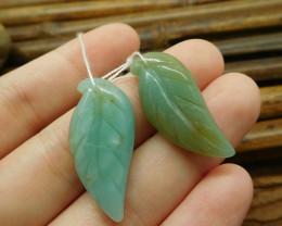 Green gemstone amazonite gemstone leaf beads (G1753)