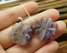 Handmade four leaves clover handmade fluorite beads (G1757)