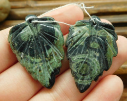 Ocean kambaba gemstone jasper handmade leaf carving beads (G1759)