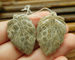 Indonesia coral fossil brown leaf beads (G1764)