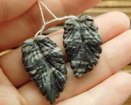 Picasso jasper handmade pair leaf earring beads (G1772)