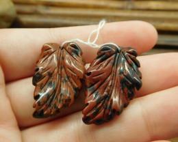 Mahogany obsidian gemstone pair red gemstone beads (G1774)