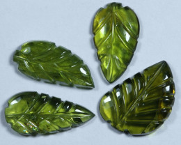 5.20cts Leave Tourmaline Carving Pair