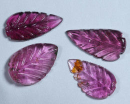 4.40cts Leave Tourmaline Carving Pair