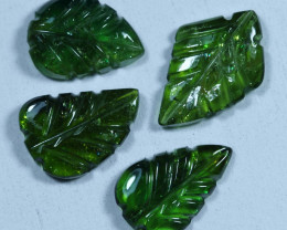 5.55cts Leave Tourmaline Carving Pair