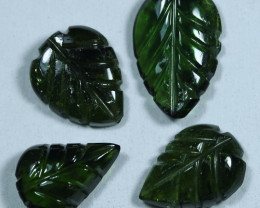 8.20cts Leave Tourmaline Carving Pair