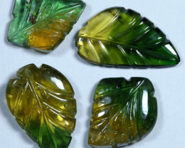 7.70cts Leave Tourmaline Carving Pair