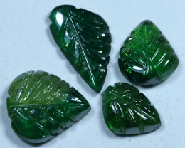 6.80cts Leave Tourmaline Carving Pair