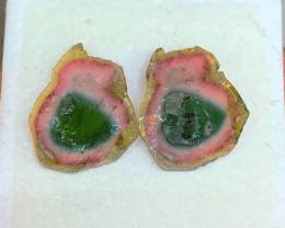 *NR* 24.00 ct Watermelon Tourmaline Slice 21.3 x 18.0 x 2.9