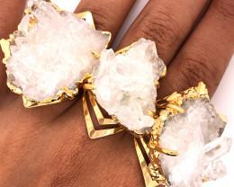 3 x Raw High Grade Druzy Gemstone Golden Ring - BR 1294