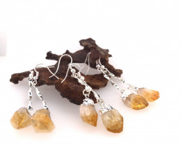 3 x Raw Beautiful Citrine Earrings Lovers - BR 1313