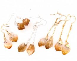 5 x Raw Beautiful Citrine Earrings Lovers - BR 1323