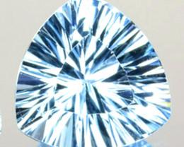 Amazing!! 3.54 Cts Natural Sky Blue Topaz 10mm Trillion Concave Cut Brazil