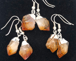 3 x Raw Beautiful Citrine Earrings Lovers - BR 1349