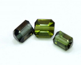 2.25 Carats Emerald Cut 3 Pcs of Mix Color Tourmaline Gemstone From Afghani